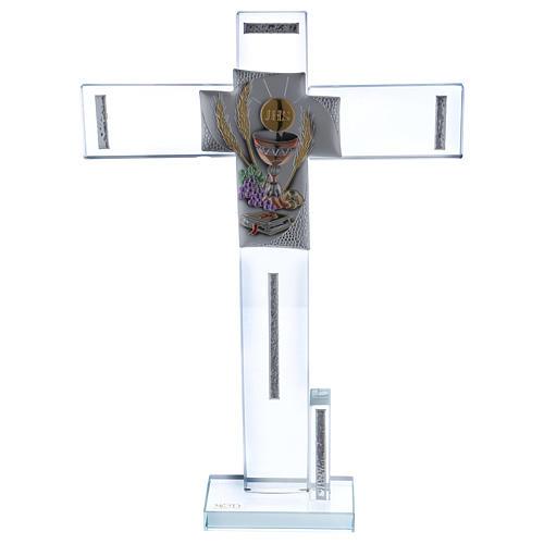 Idea regalo para Comunión cruz vidrio y cristal 30x20 cm 1