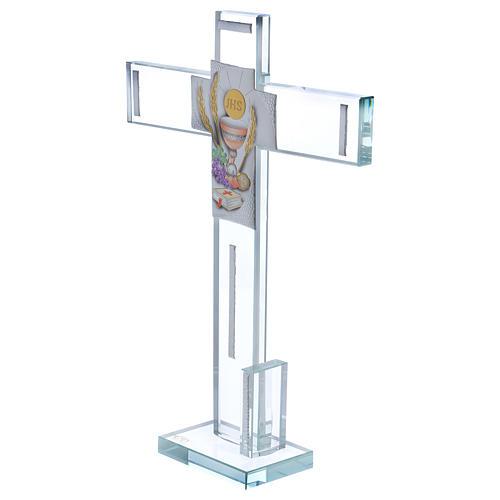 Idea regalo para Comunión cruz vidrio y cristal 30x20 cm 2