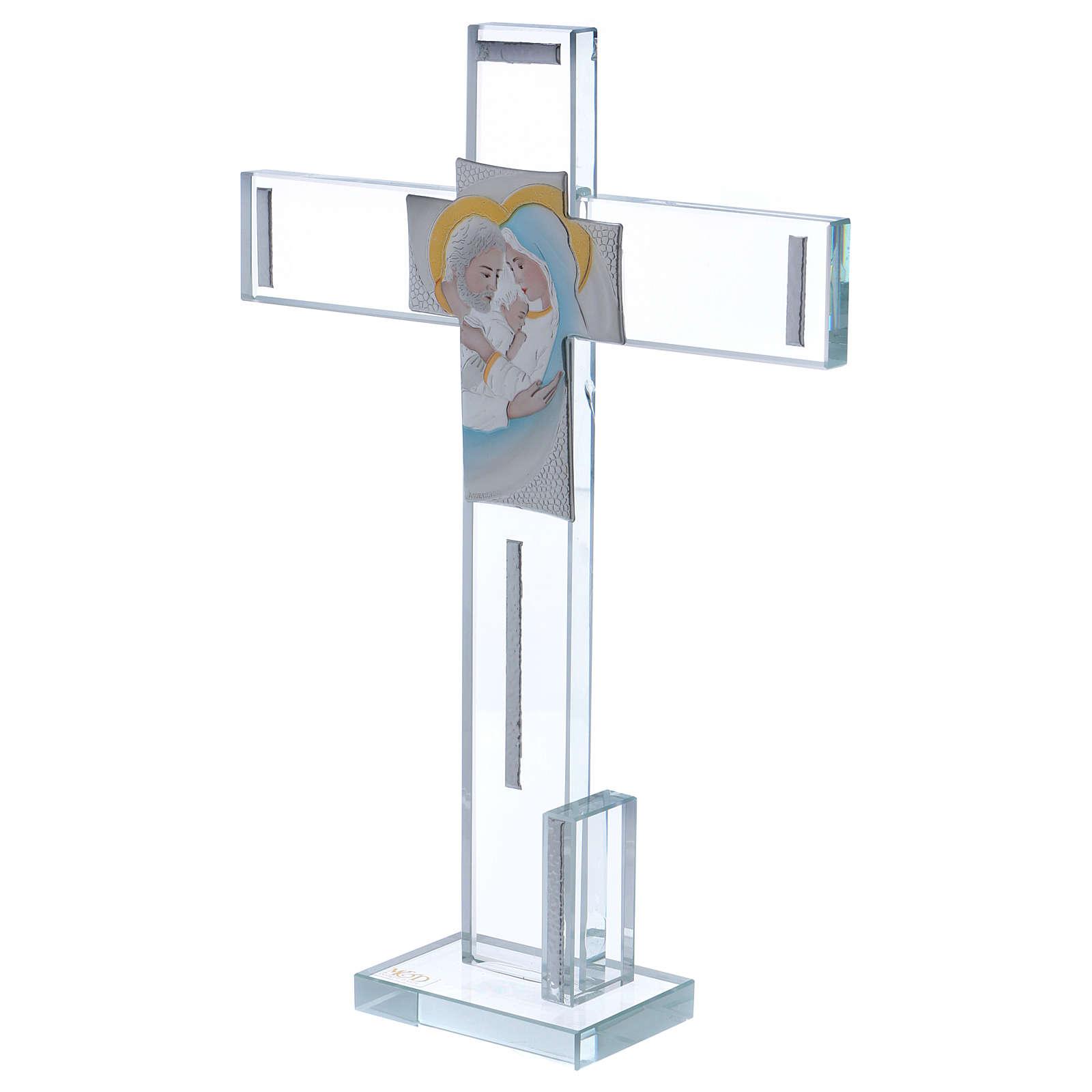 Idea regalo Sacra Famiglia croce e lamina argento 30x20 cm  3