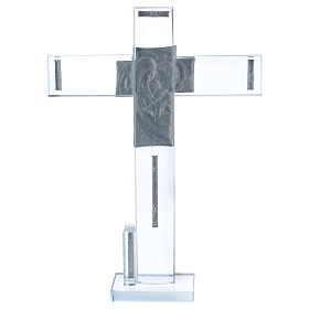 Idea regalo Sacra Famiglia croce e lamina argento 30x20 cm  s3