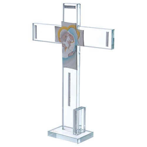 Idea regalo Sacra Famiglia croce e lamina argento 30x20 cm  2