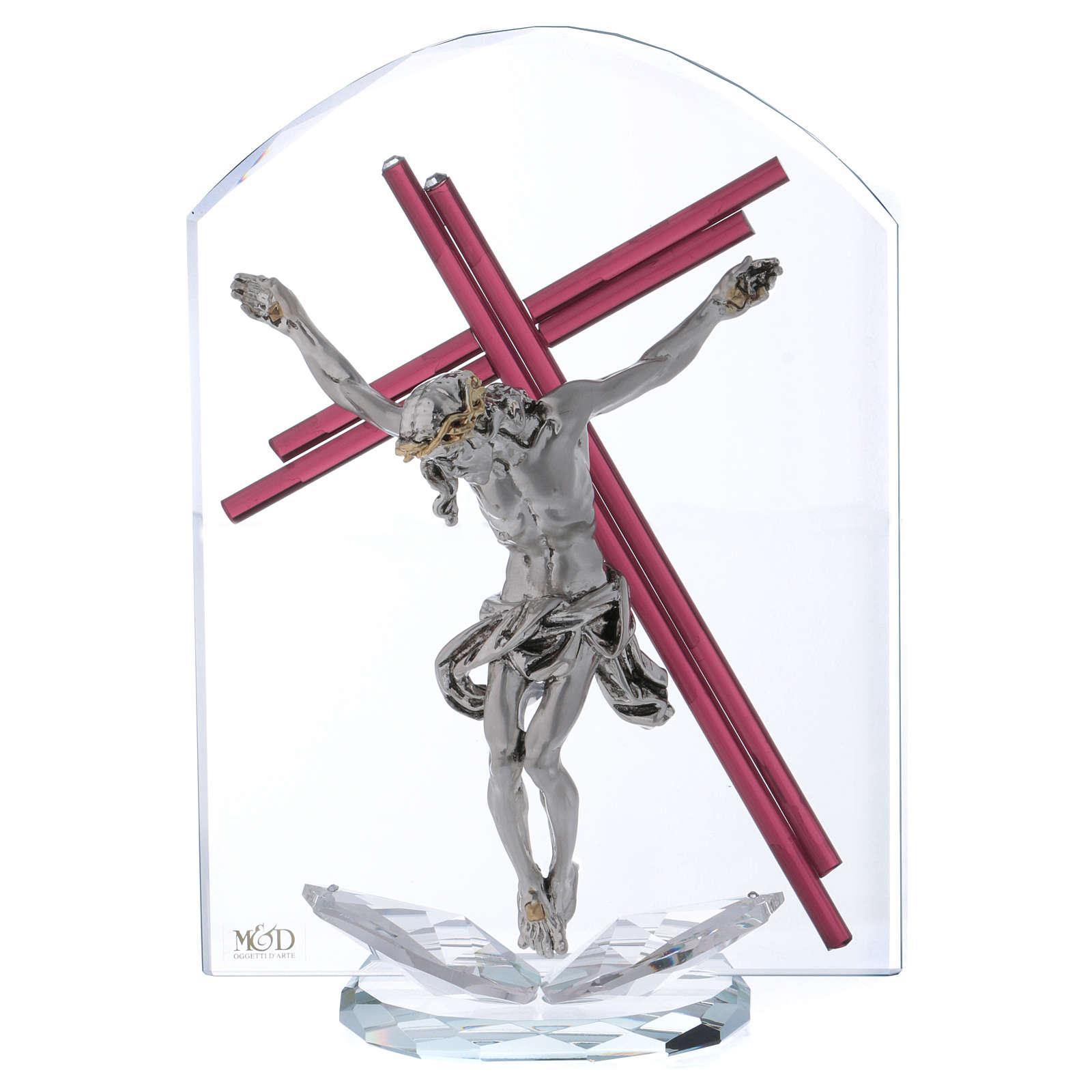 Idea regalo crucifijo de vidrio y cristal 25x15 cm 3