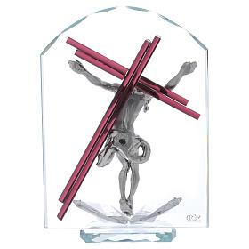 Idea regalo crucifijo de vidrio y cristal 25x15 cm s3