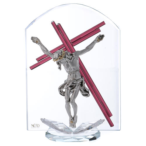 Idea regalo crucifijo de vidrio y cristal 25x15 cm 1