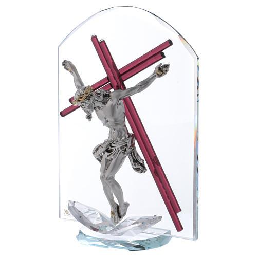 Idea regalo crucifijo de vidrio y cristal 25x15 cm 2