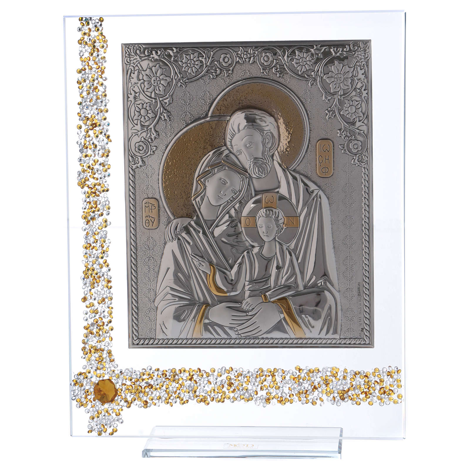 Quadro regalo icona Sacra Famiglia lamina argento 25x20 cm 3