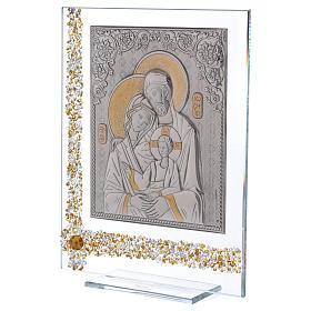 Quadro regalo icona Sacra Famiglia lamina argento 25x20 cm s2