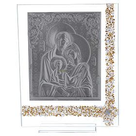 Quadro regalo icona Sacra Famiglia lamina argento 25x20 cm s3