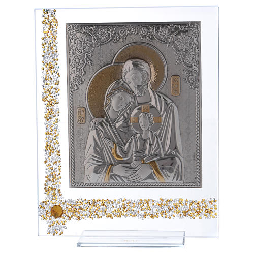 Quadro regalo icona Sacra Famiglia lamina argento 25x20 cm 1