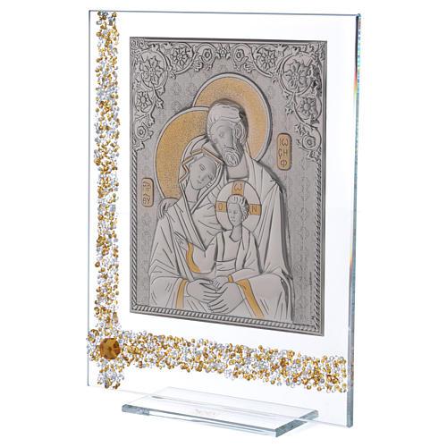 Quadro regalo icona Sacra Famiglia lamina argento 25x20 cm 2