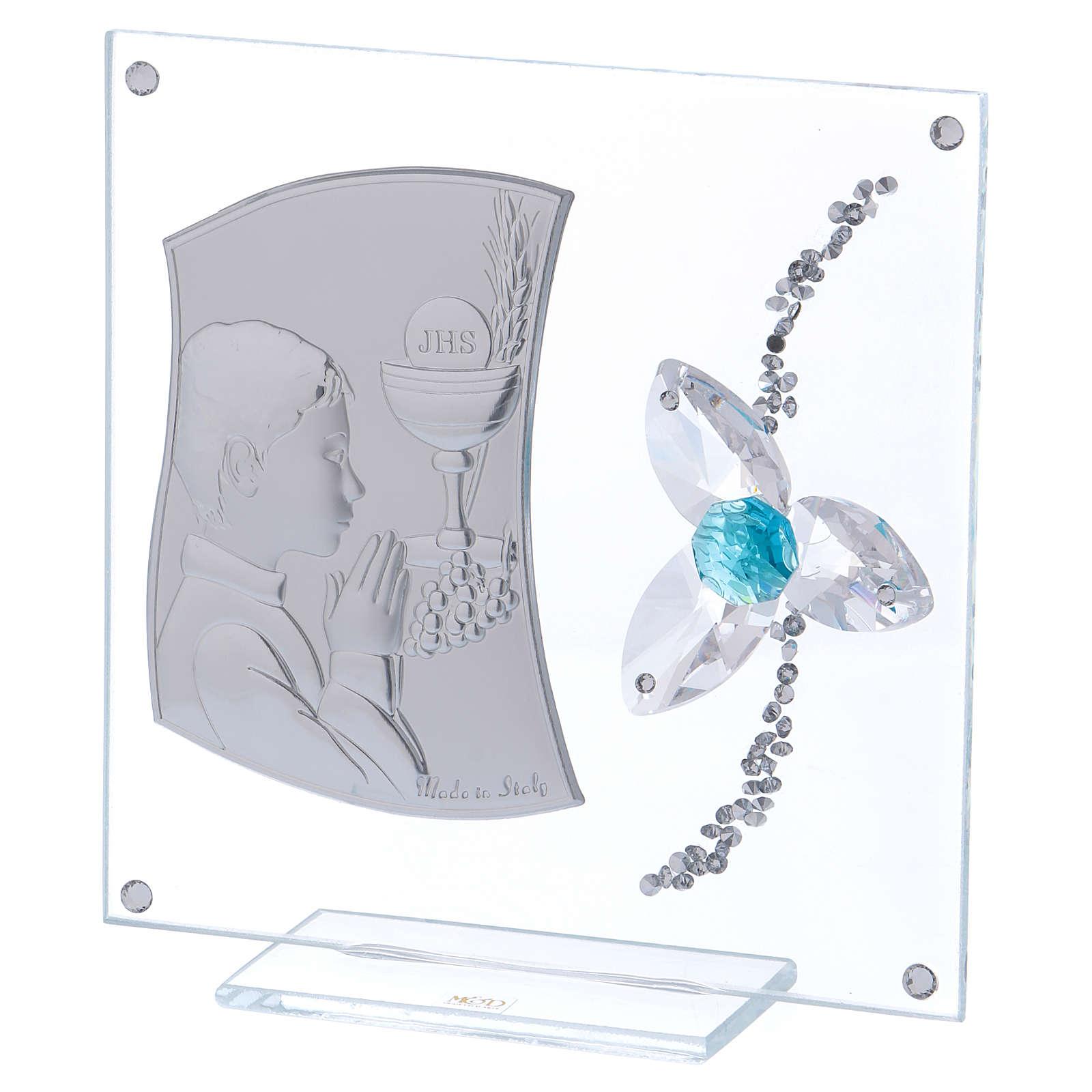 Cadre Communion pour garçon fleur aigue-marine 10x10 cm 3