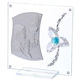 Cadre Communion pour garçon fleur aigue-marine 10x10 cm s2