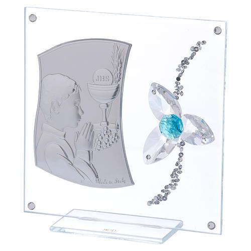 Cadre Communion pour garçon fleur aigue-marine 10x10 cm 2