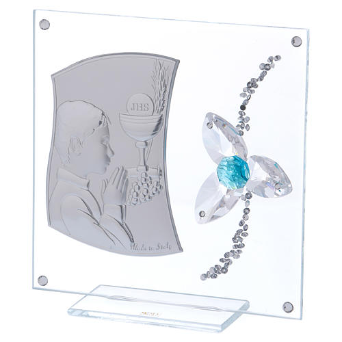 Quadretto Comunione per bimbo fiore centro acquamarina 15x10 cm 2