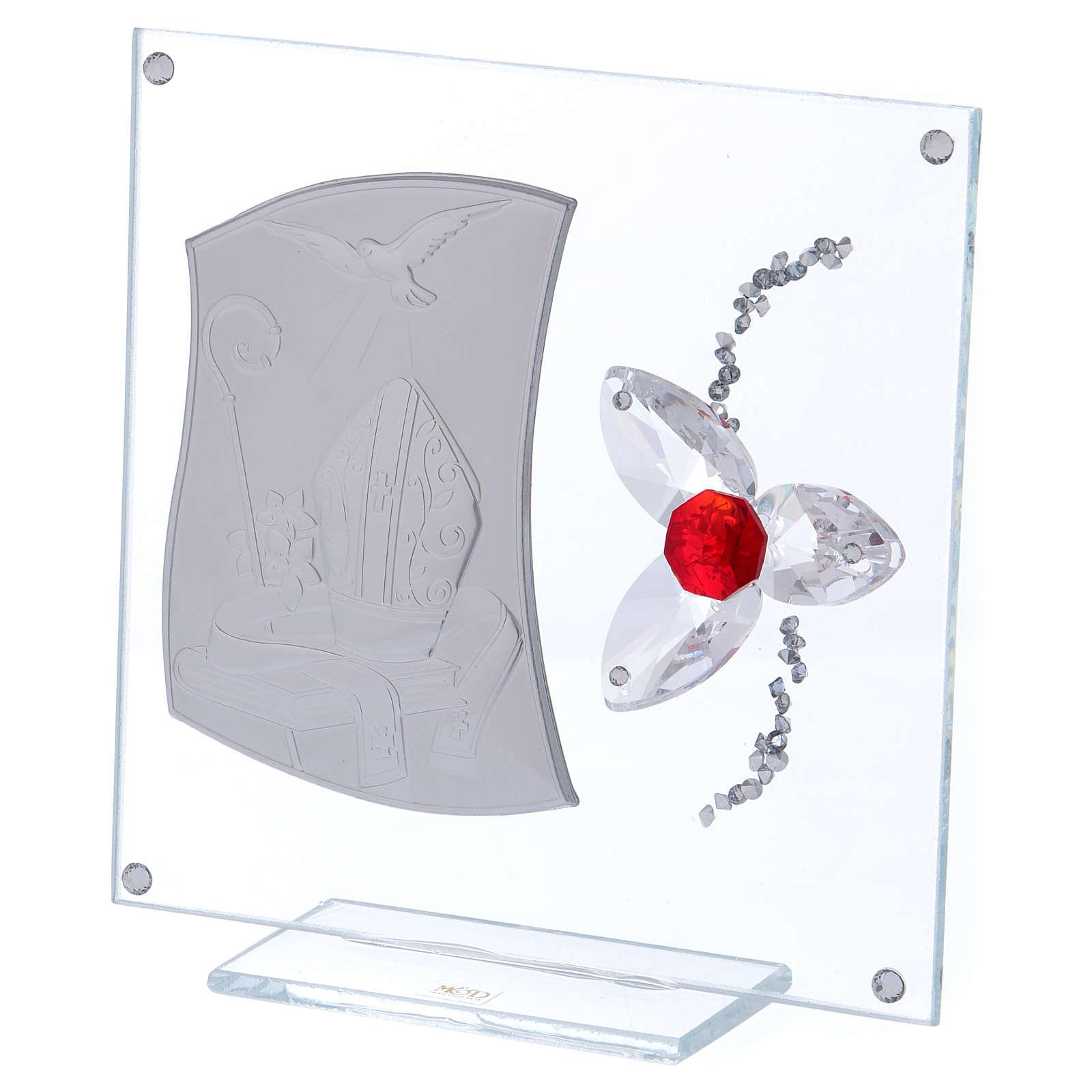 Quadretto regalo per cresima con fiore rosso 15x10 cm 3