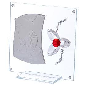 Quadretto regalo per cresima con fiore rosso 15x10 cm s2