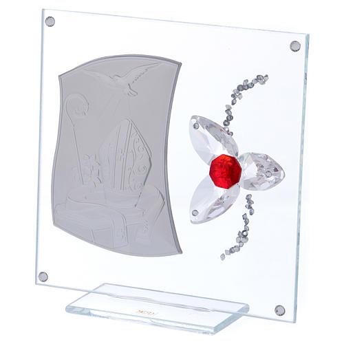 Quadretto regalo per cresima con fiore rosso 15x10 cm 2