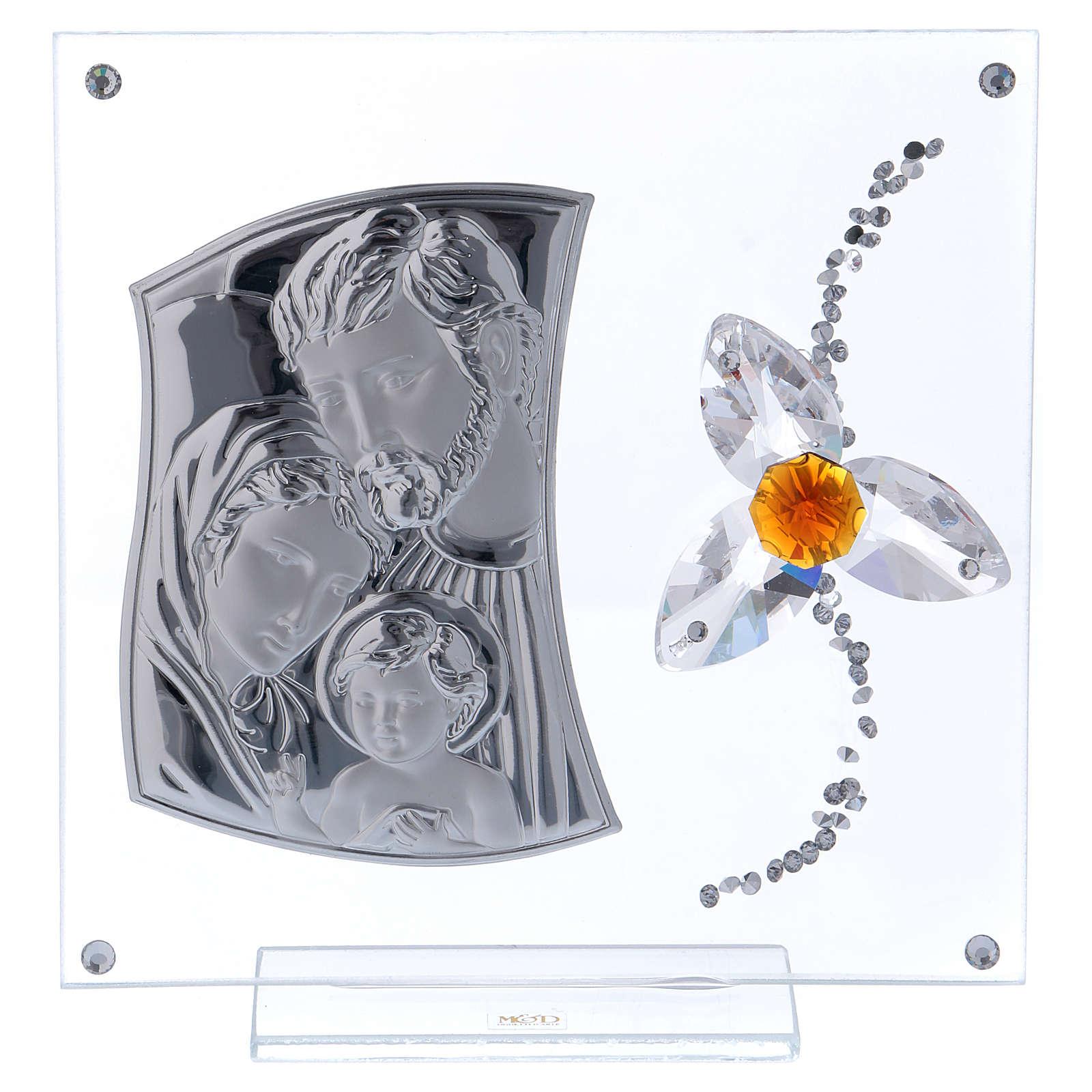 Cuadrito regalo Sagrada Familia con flor centro color ámbar 15x10 cm 3