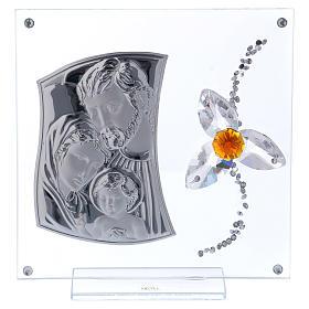 Cuadrito regalo Sagrada Familia con flor centro color ámbar 15x10 cm s1