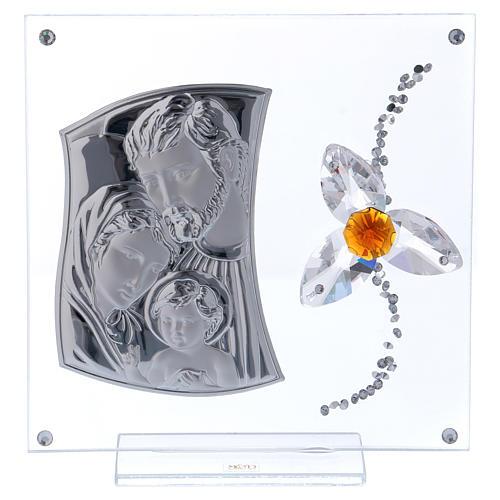 Cuadrito regalo Sagrada Familia con flor centro color ámbar 15x10 cm 1