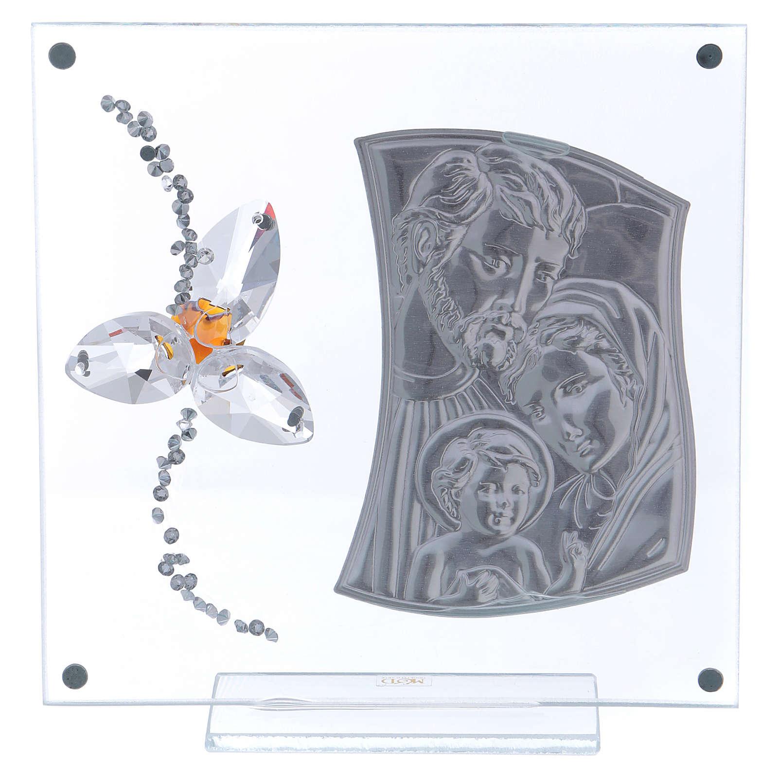 Quadretto regalo Sacra Famiglia con fiore centro color ambra 15x10 cm 3