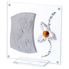 Quadretto regalo Sacra Famiglia con fiore centro color ambra 15x10 cm s2