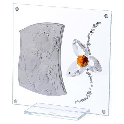Quadretto regalo Sacra Famiglia con fiore centro color ambra 15x10 cm 2