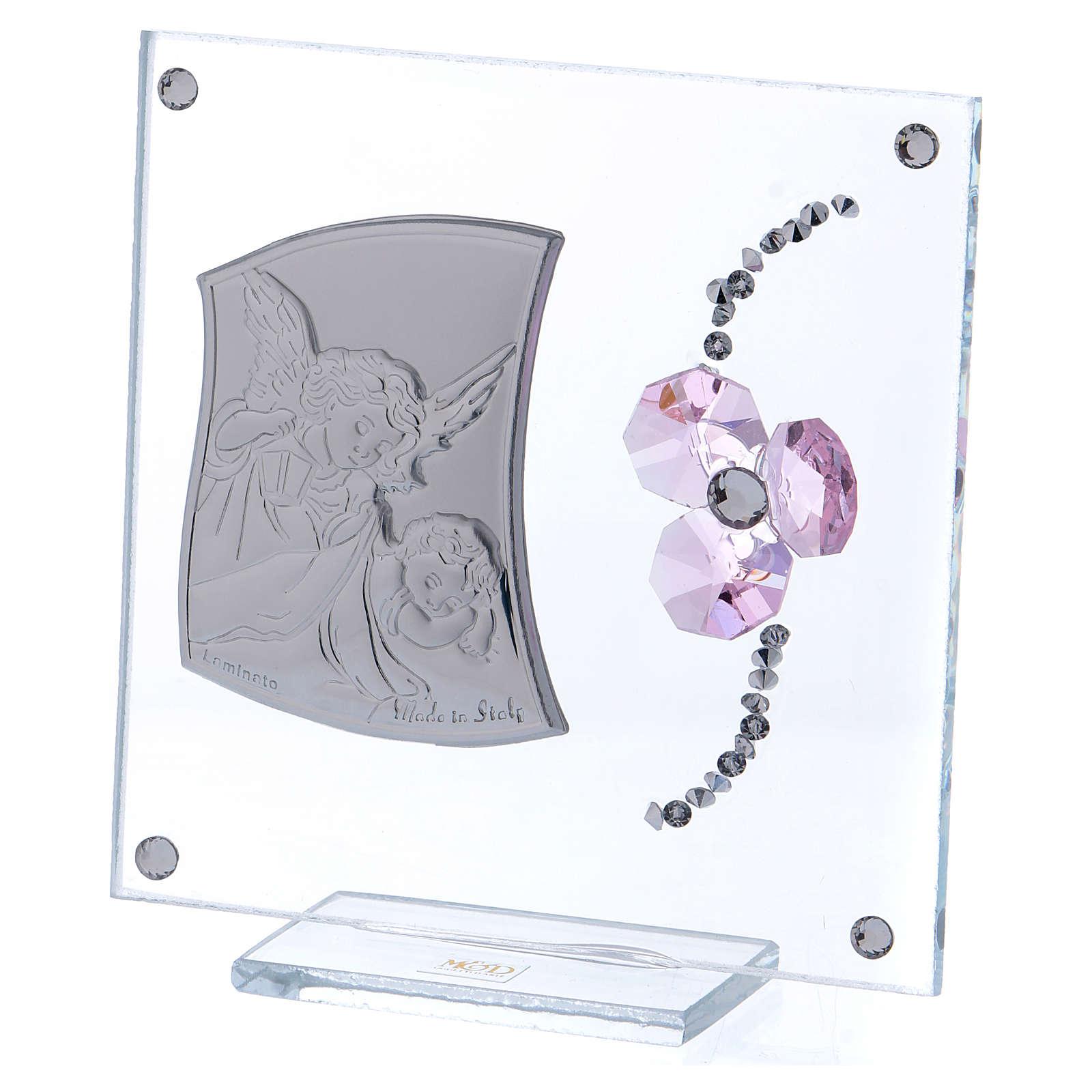Bombonera recuerdo Ángel de la Guarda y flor pétalos rosa 10x10 cm 3