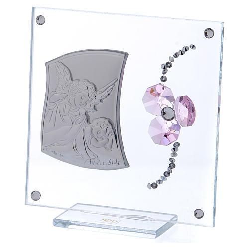 Bombonera recuerdo Ángel de la Guarda y flor pétalos rosa 10x10 cm 2