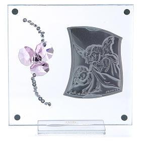 Bonbonnière souvenir Ange Gardien et fleur pétales roses 10x10 cm s3