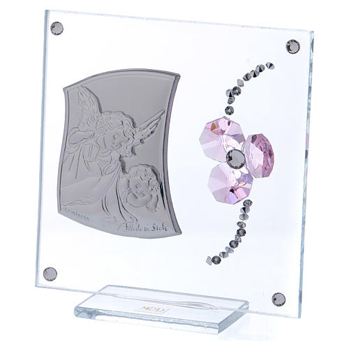 Bomboniera ricordino Angelo Custode e fiore petali rosa 10x10 cm  2