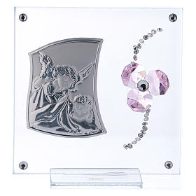 Pamiątka Anioł Stróż i kwiat płatki różowe 10x10 cm s1