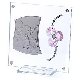 Pamiątka Anioł Stróż i kwiat płatki różowe 10x10 cm s2