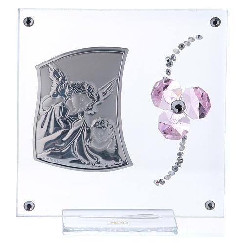 Pamiątka Anioł Stróż i kwiat płatki różowe 10x10 cm 1
