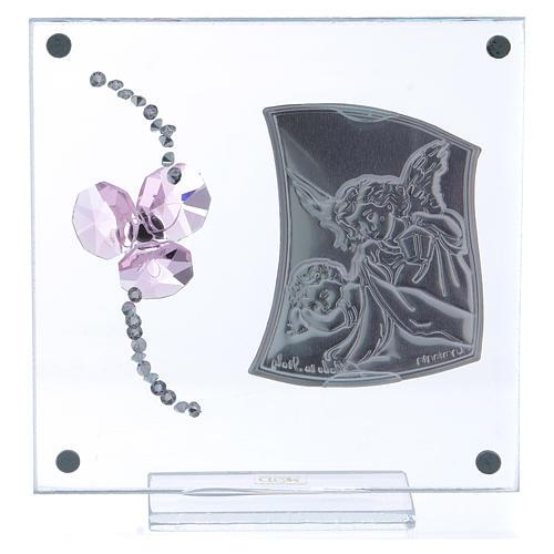 Pamiątka Anioł Stróż i kwiat płatki różowe 10x10 cm 3