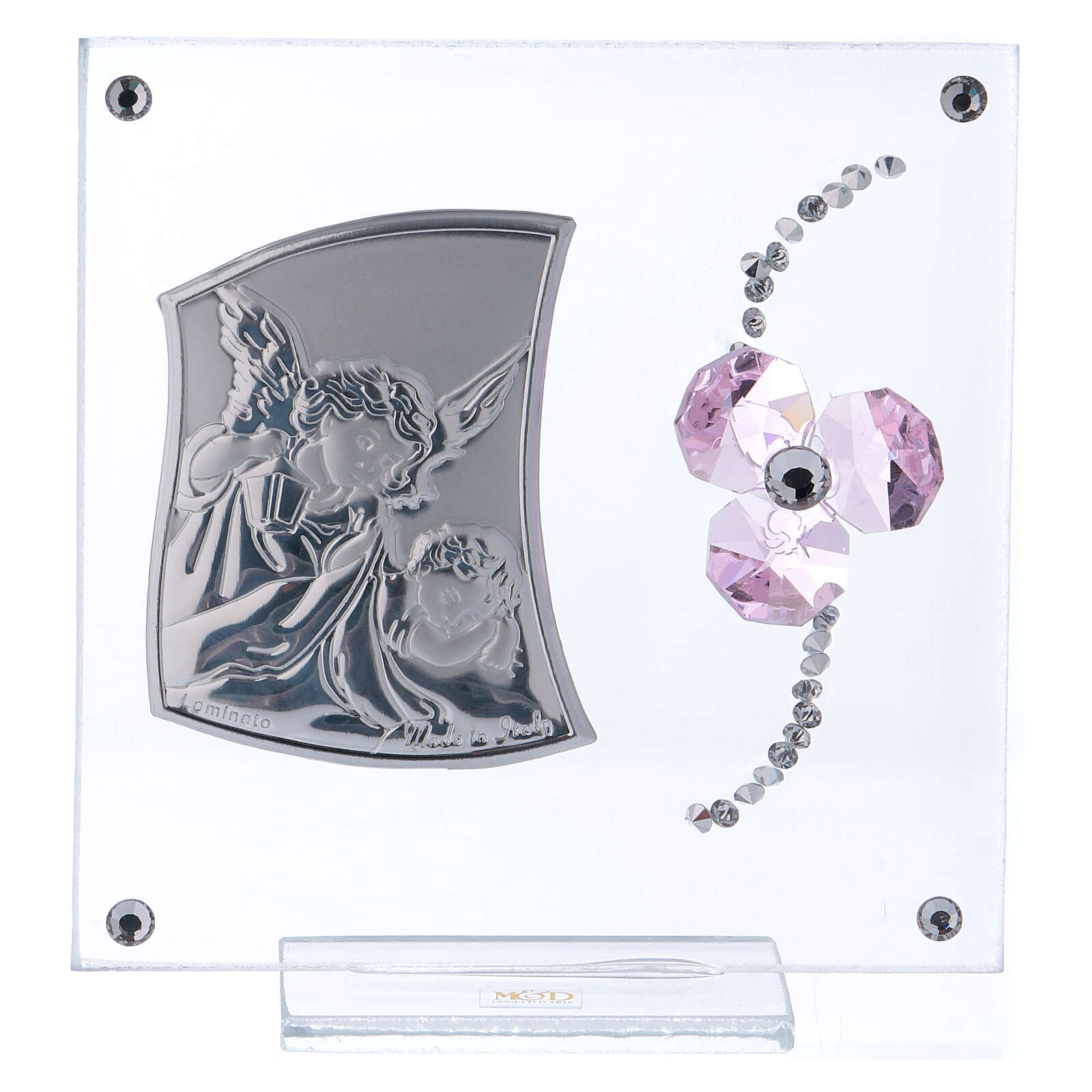 Religious souvenir Guardian Angel and pink flower petals 4x4 in 3
