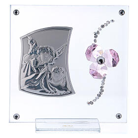 Religious souvenir Guardian Angel and pink flower petals 4x4 in s1