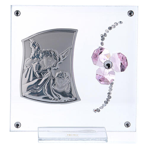 Religious souvenir Guardian Angel and pink flower petals 4x4 in 1