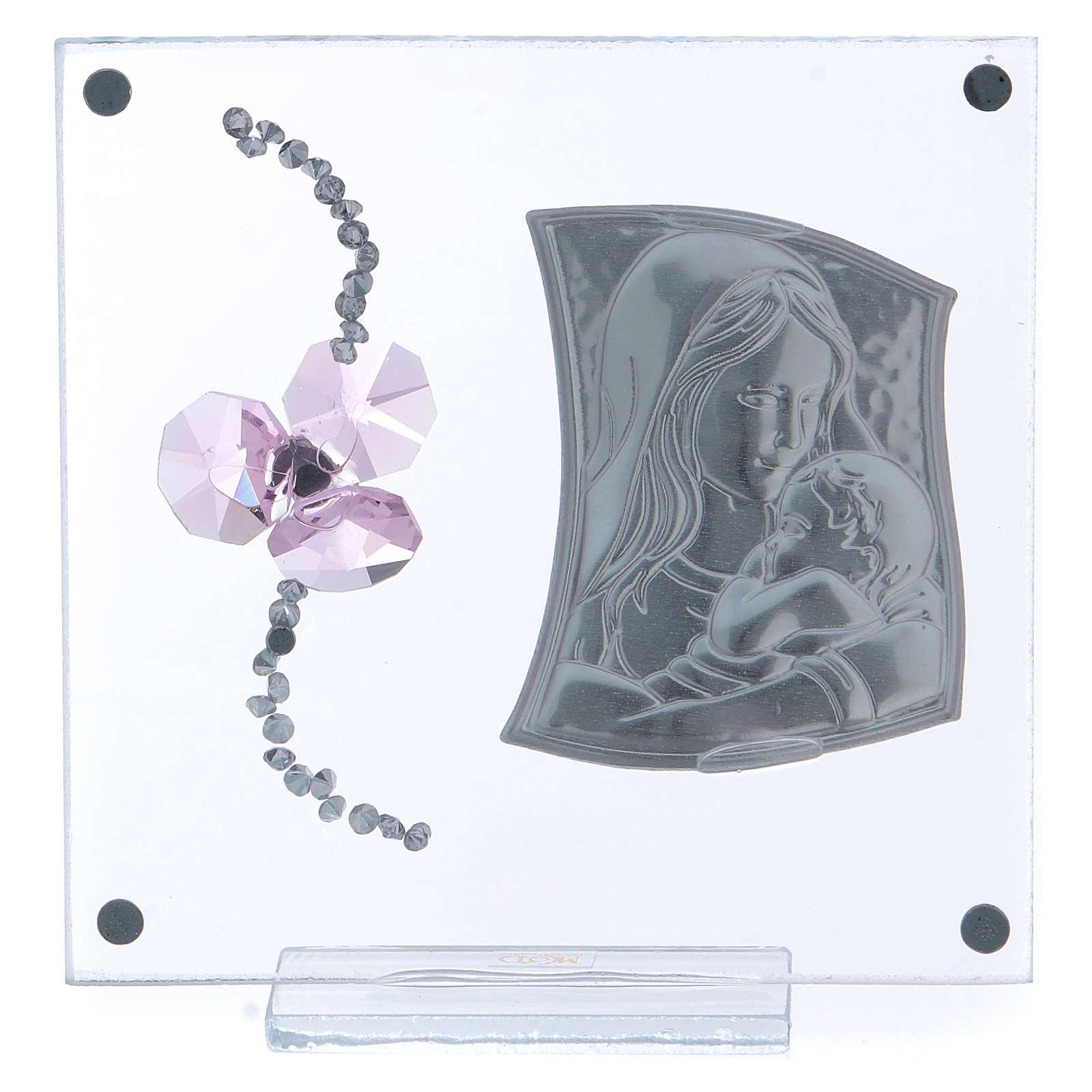 Bombonera Bautismo flor pétalos rosa y maternidad 10x10 cm 3