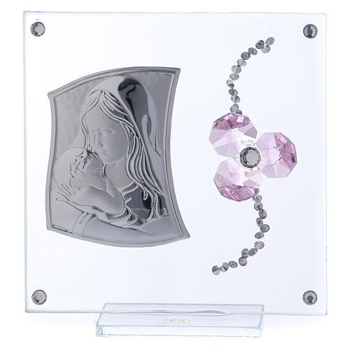 Bombonera Bautismo flor pétalos rosa y maternidad 10x10 cm 1