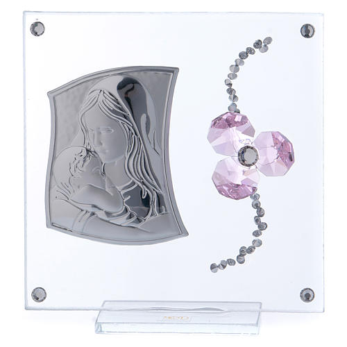 Bonbonnière baptême fleur pétales roses et maternité 10x10 cm 1