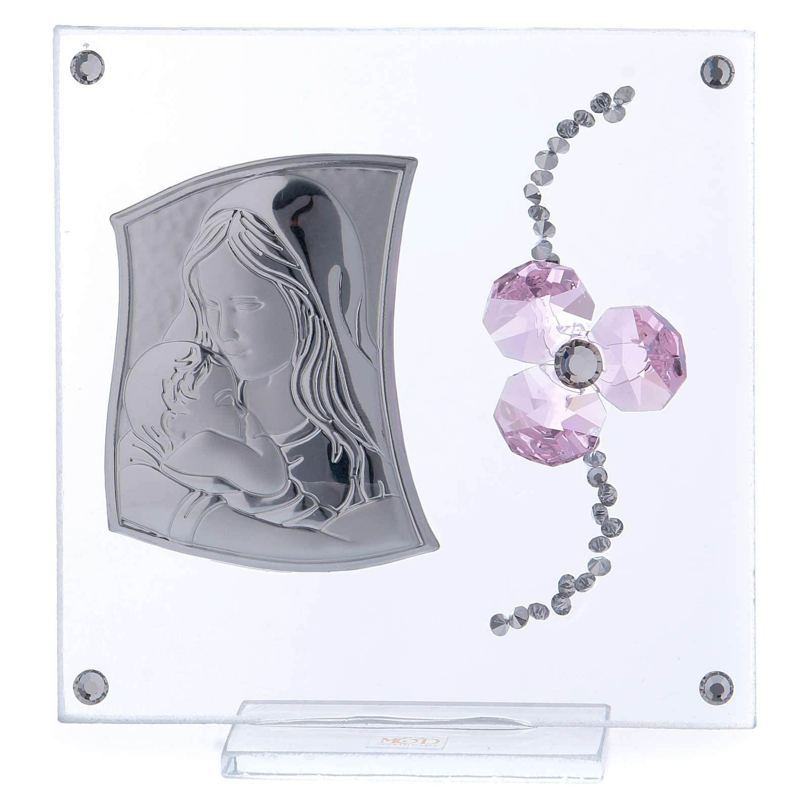 Bomboniera Battesimo fiore petali rosa e maternità 10x10 cm 3