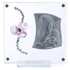 Bomboniera Battesimo fiore petali rosa e maternità 10x10 cm s3