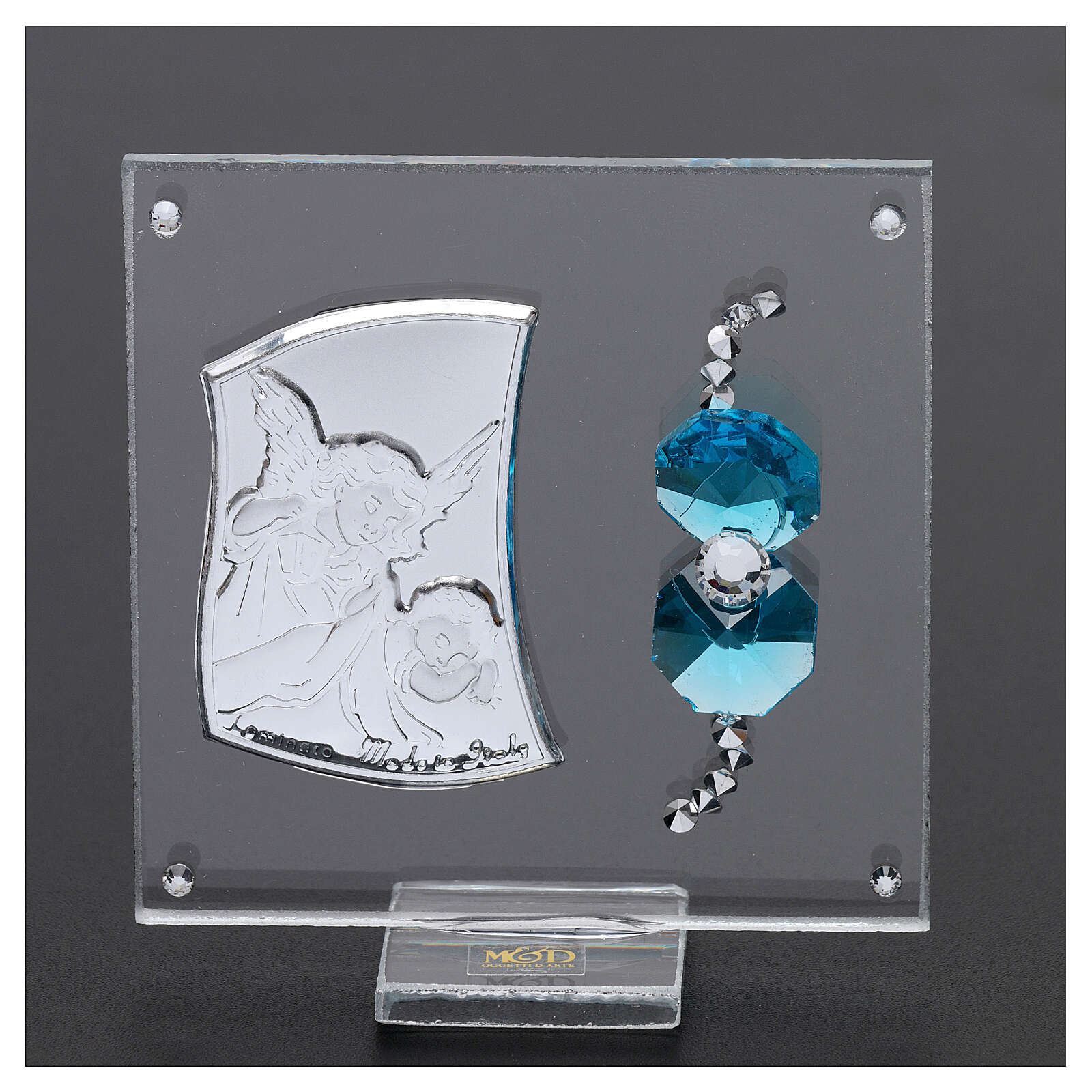 Favor Guardian angel of silver foil for boy 3x3 in 3