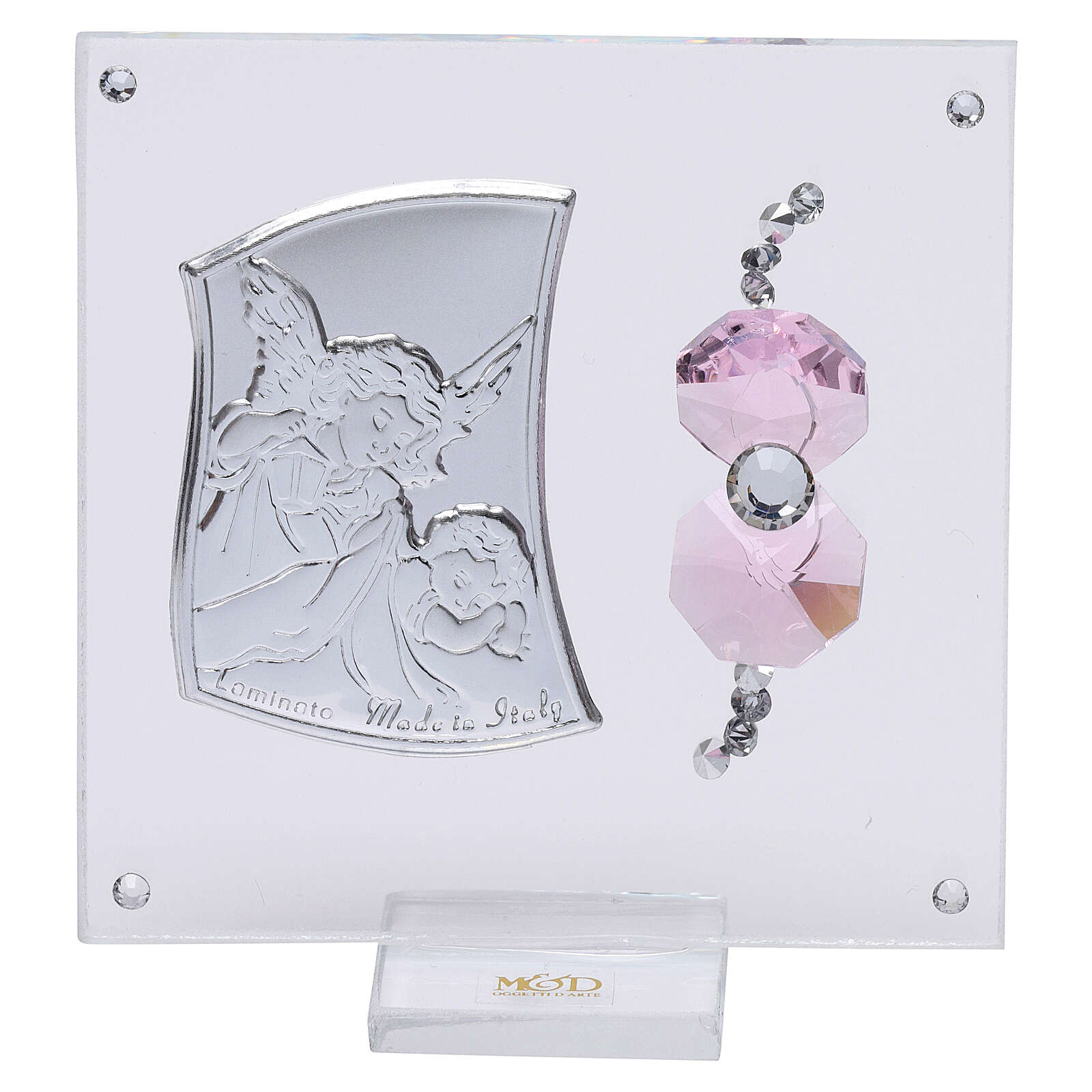 Favor Guardian angel of silver foil for girl 3x3 in 3