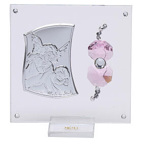 Favor Guardian angel of silver foil for girl 3x3 in s1