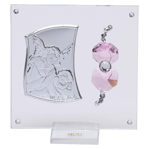 Favor Guardian angel of silver foil for girl 3x3 in 1