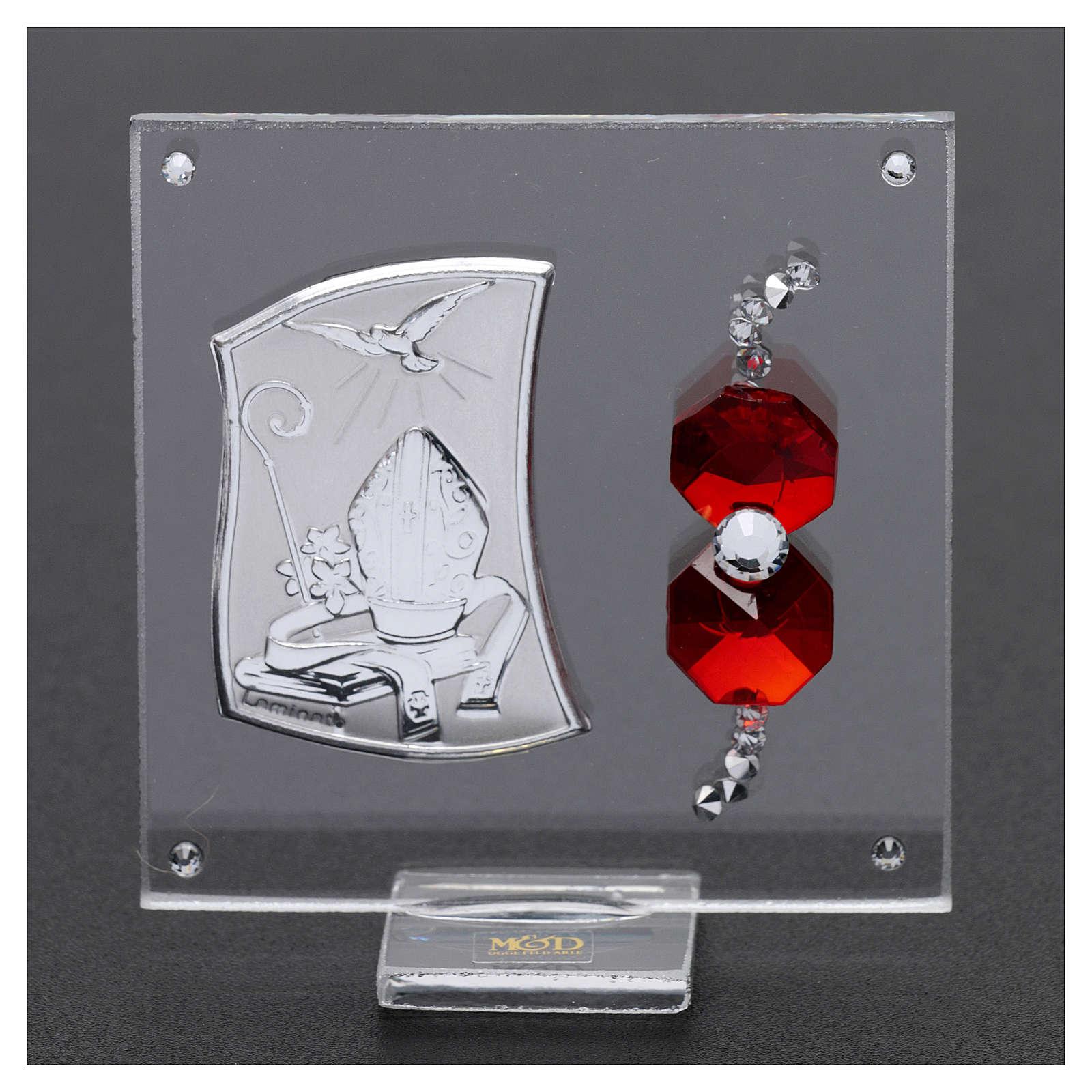 Bomboniera Cresima con cristalli color rosso 5x5 cm 3
