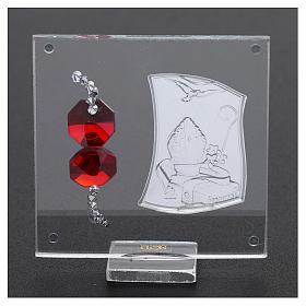 Bomboniera Cresima con cristalli color rosso 5x5 cm s3