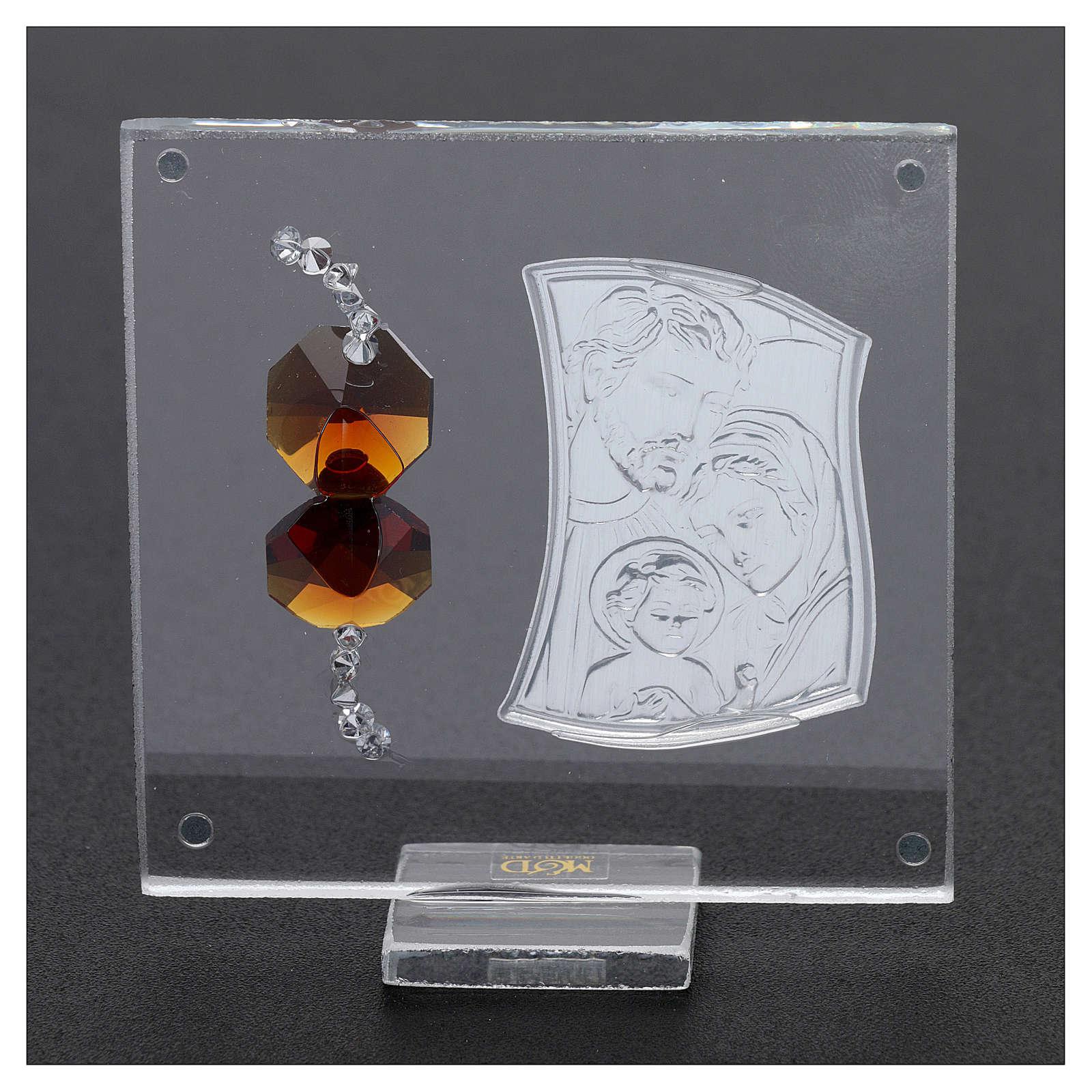 Ricordino Sacra Famiglia con cristalli ambra e lamina argento 5x5 cm  3